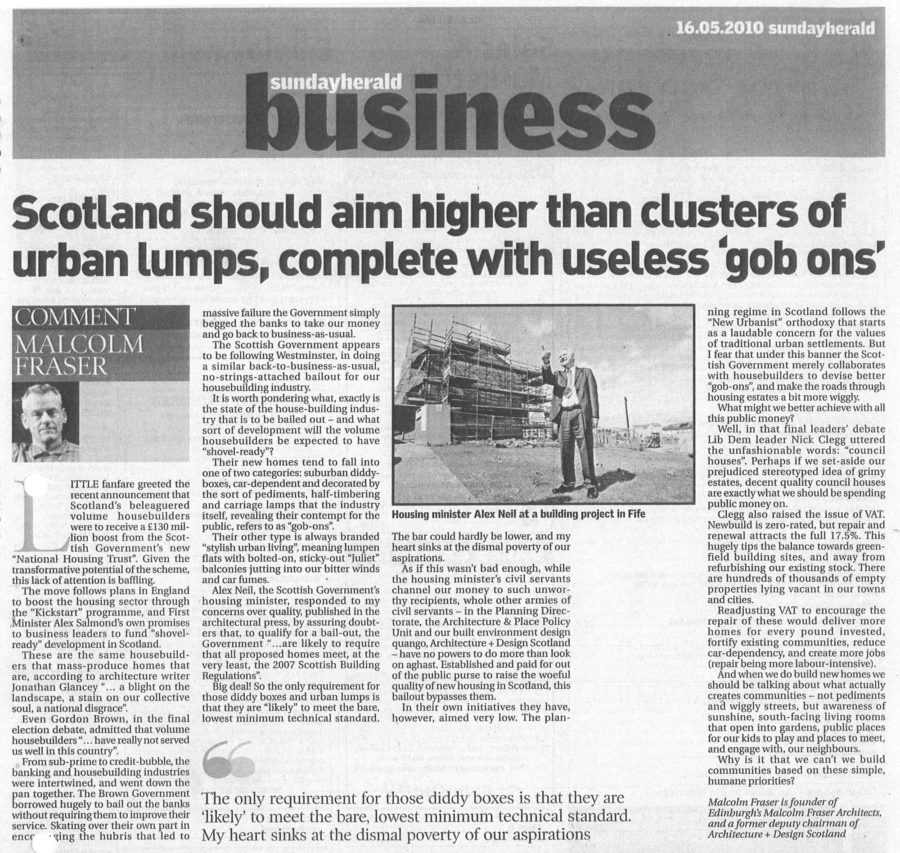 Sunday Herald article newspaper cutting: Gob ons by Malcolm Fraser