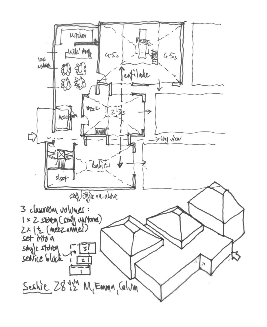 Arcadia site and building plan sketch