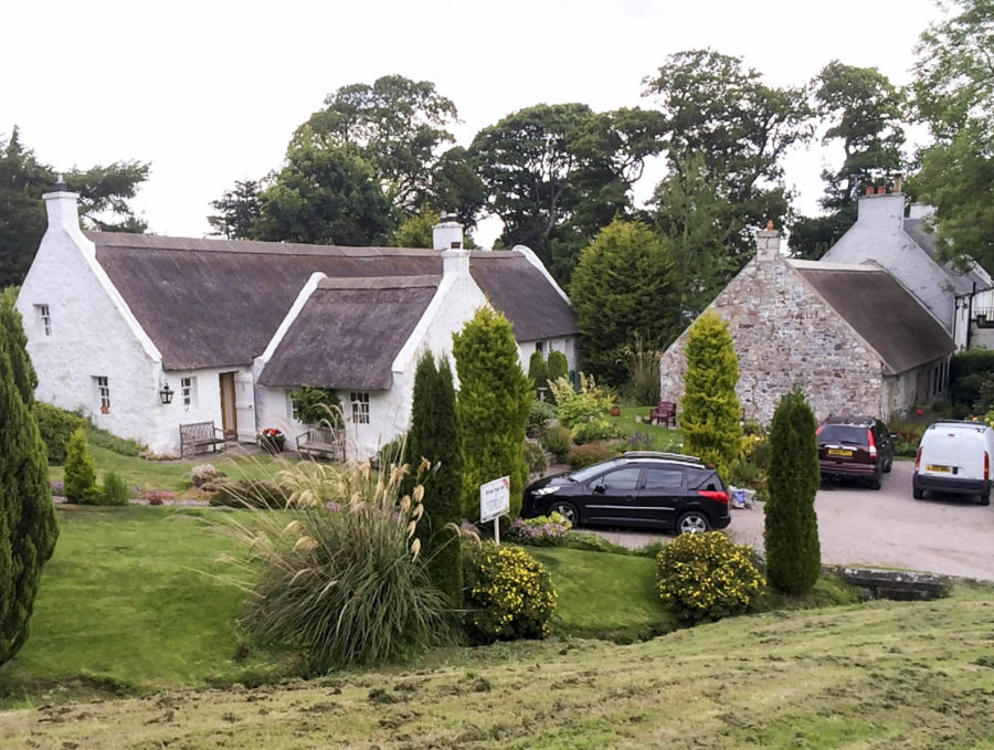 thatched cottages swanston village scotland copy