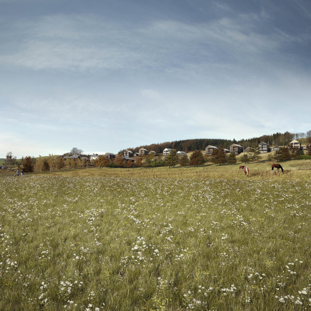 Athron Hill, Kinross-shire, visualisation: meadow and houses.