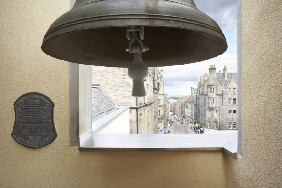 The Netherbow Bell hanging in its tower, Royal Mile, Edinburgh