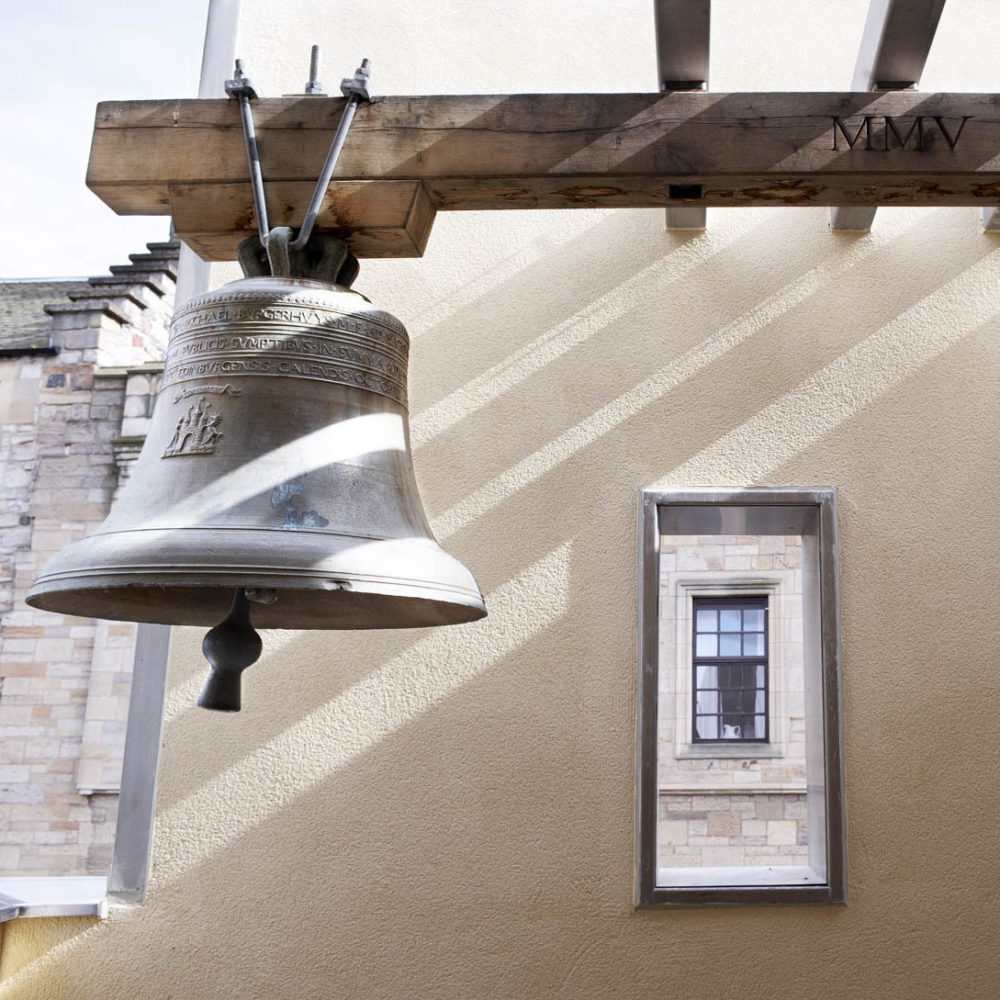 The Netherbow bell, hanging in its tower at the Scottish Storytelling Centre, Royal Mile, Edinburgh